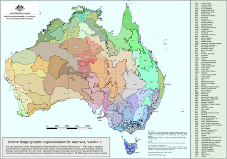 Interim Biogeographic Regionalisation for Australia, Version 7 (IBRA7) - Bioregions map